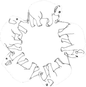 Elefanten gehen im Kreis