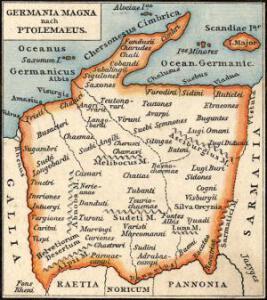 Ptolomaeus' Karte des großen Germanien